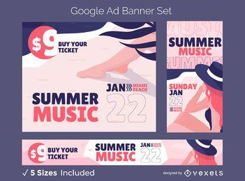 Conjunto de banner de anúncio de verão