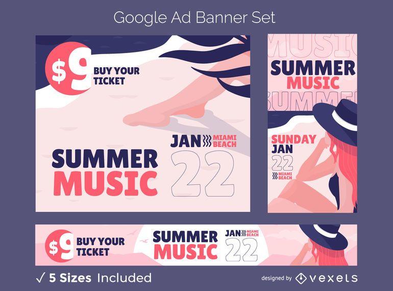 Summer ad banner set