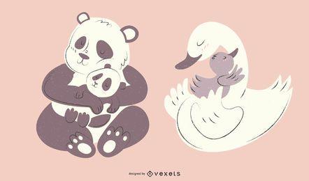 Pacote de ilustração animal mamãe panda cisne