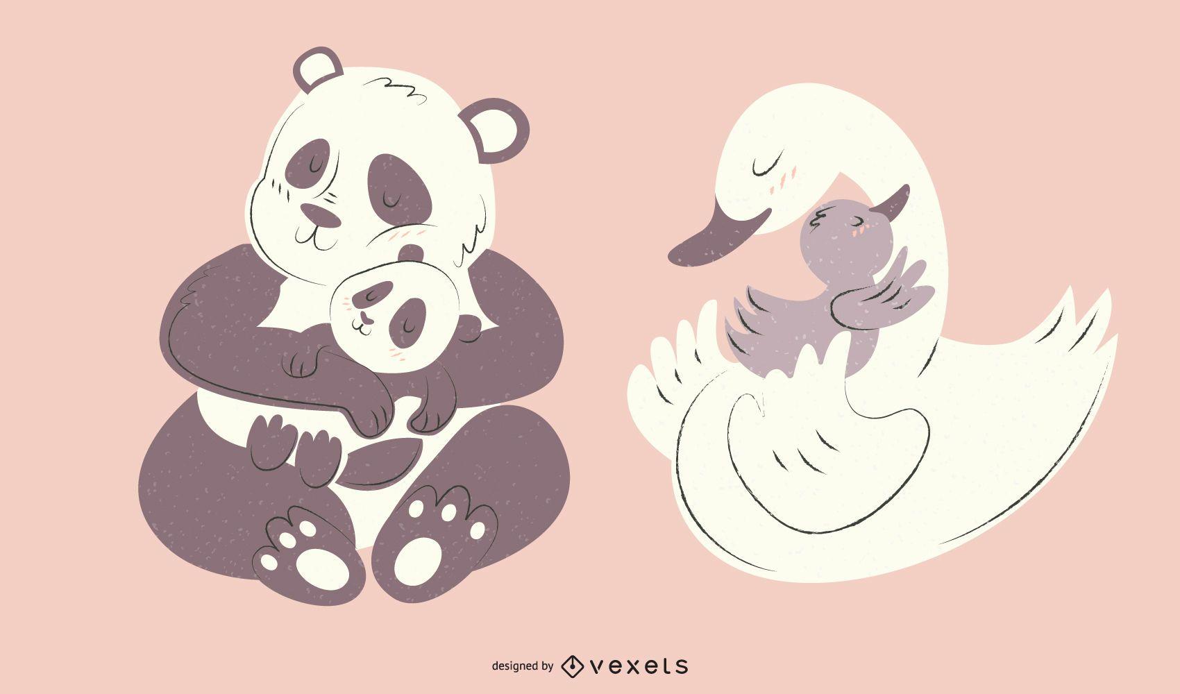 Paquete de ilustraciones de animales mamá panda cisne