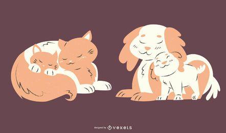 Conjunto de ilustración de animales mamá gato perro
