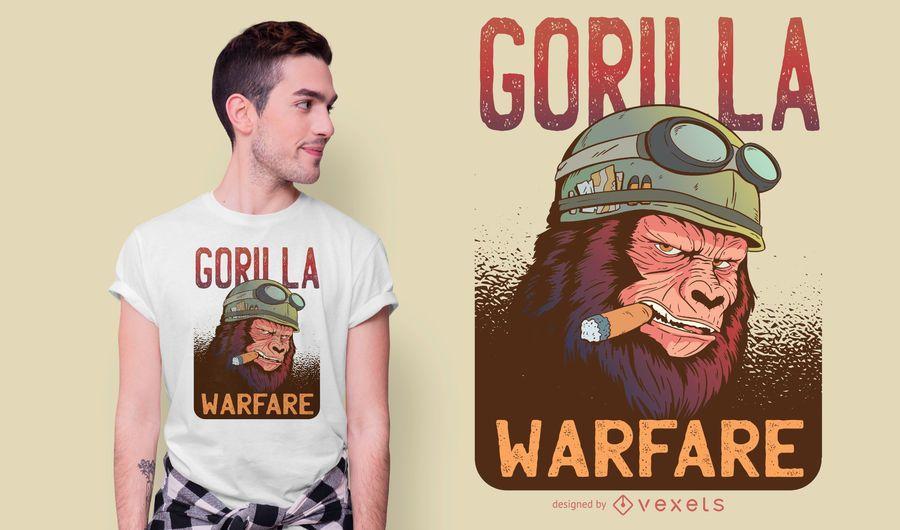 Diseño de camiseta de gorila warfare