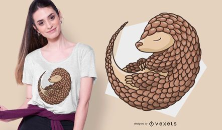 Diseño de camiseta de pangolín