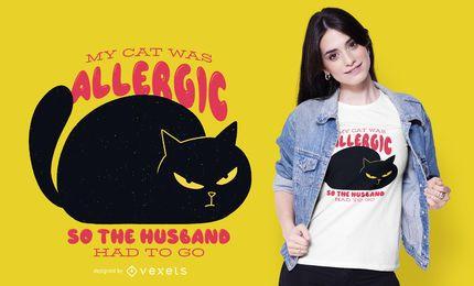 Diseño de camiseta de gato alérgico