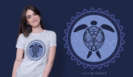 Diseño de camiseta de tortuga tribal