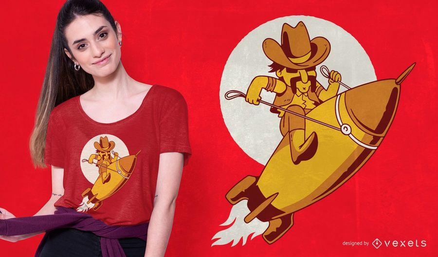 Diseño de camiseta de vaquero cohete