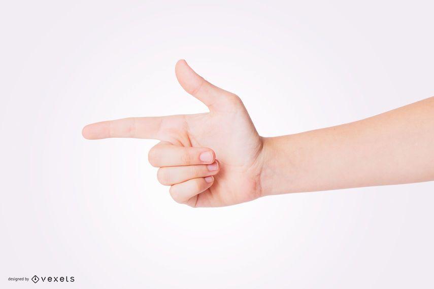 Mão apontando para o lado Maquete