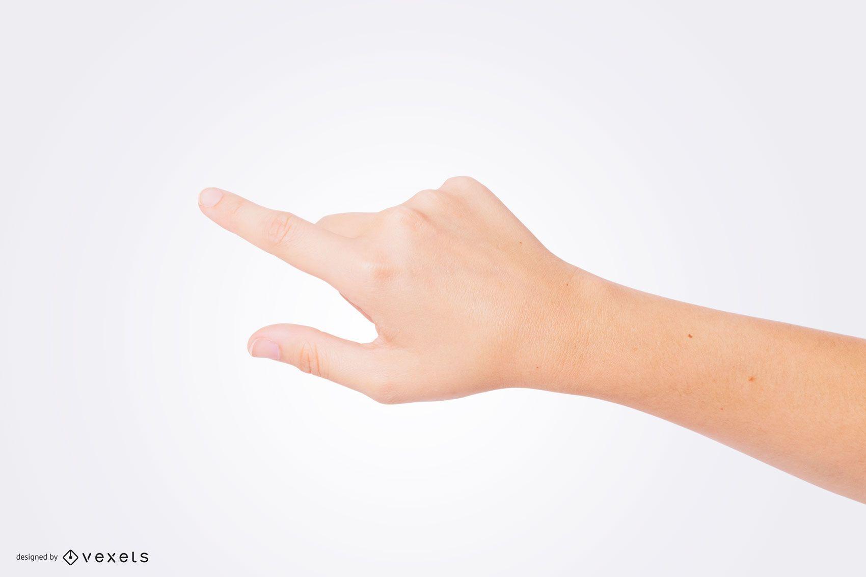 Maquete de mão apontando dedo