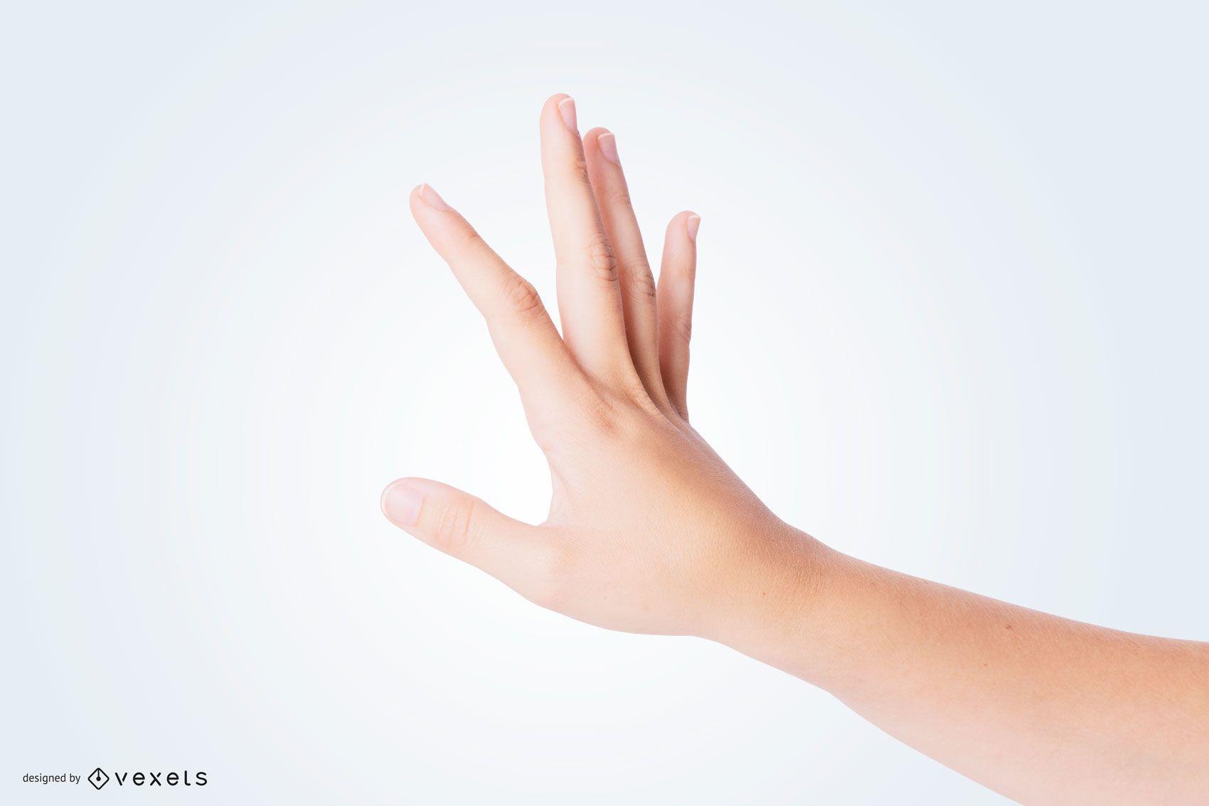 Mão olhando para a maquete das unhas