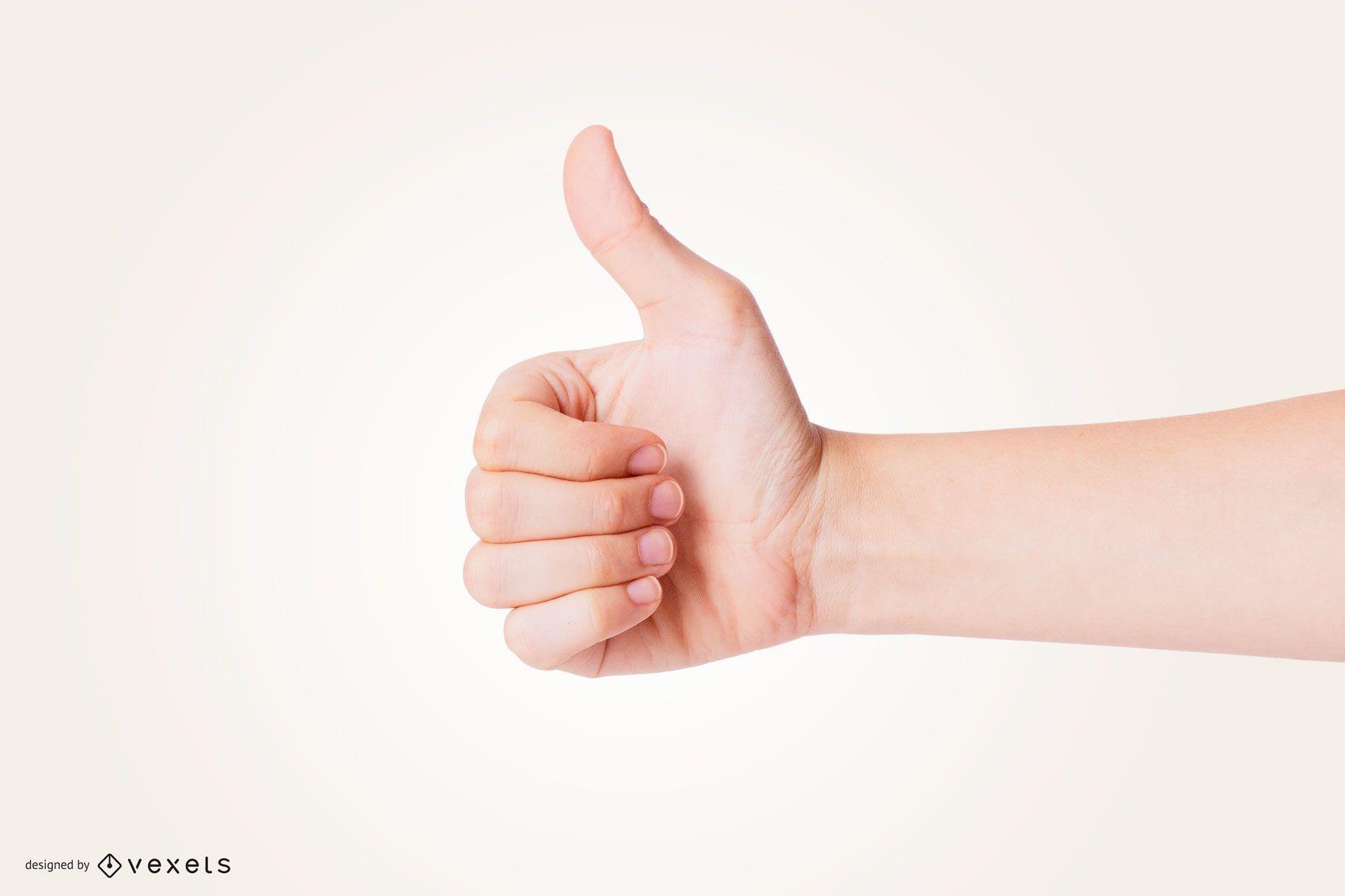 Maquete de mão Thumbs Up
