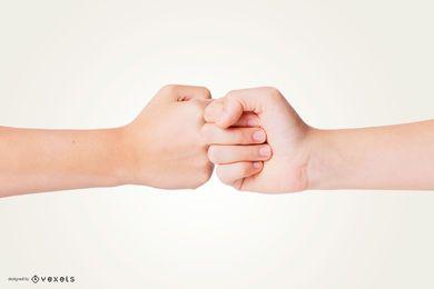 Maquete de mão de colisão de punho