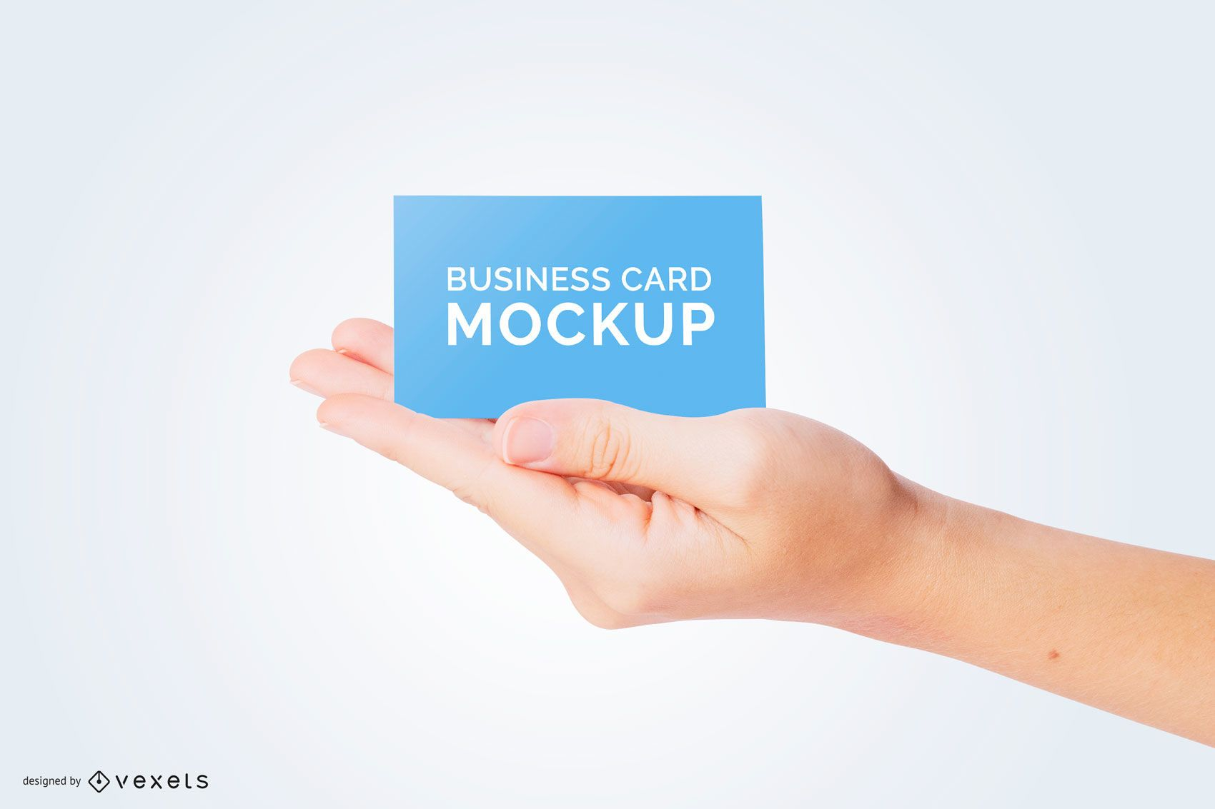 Business card in hand mockup