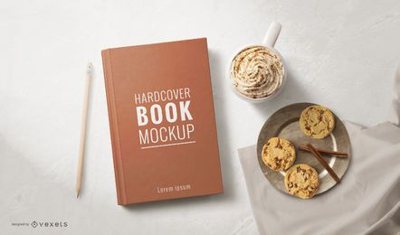 Hardcover Book With Food Mockup