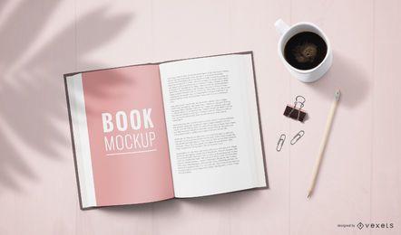 Maquete da página do livro aberto