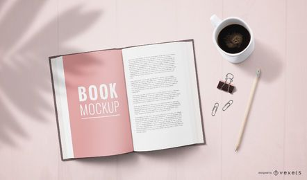 Modelo de página de livro aberto