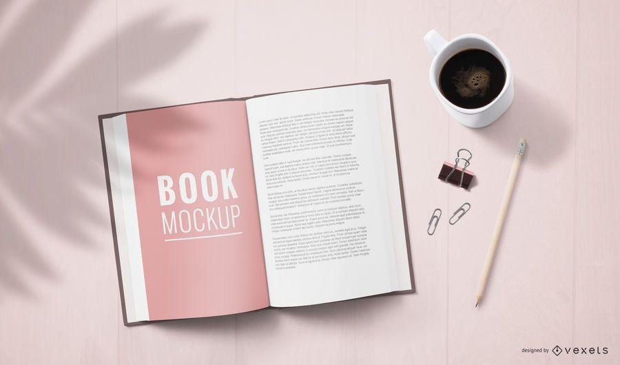 Maqueta de página de libro abierto