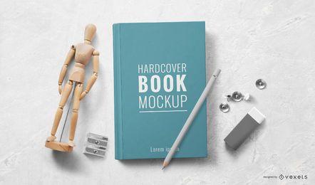 Design de maquete de objeto de livro de capa dura
