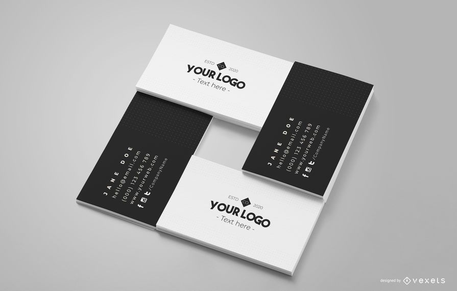 Business Card Square Mockup Composition