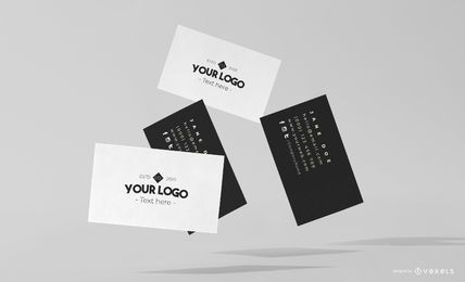 Flying business cards mockup