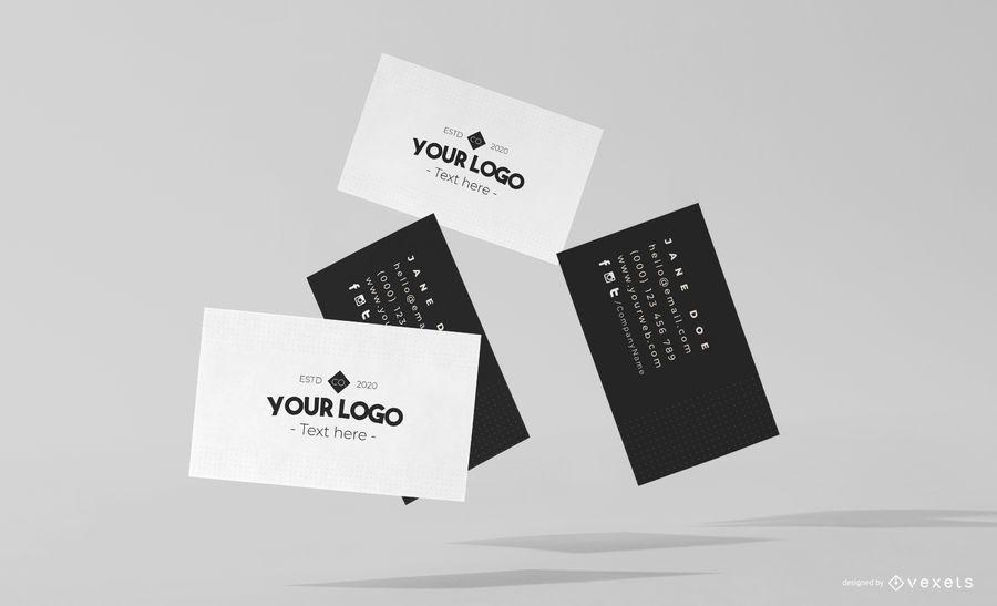 Flying business cards mockup