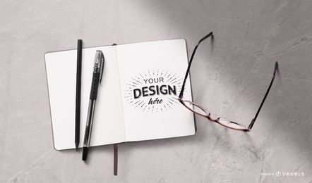 Open notebook stationery mockup