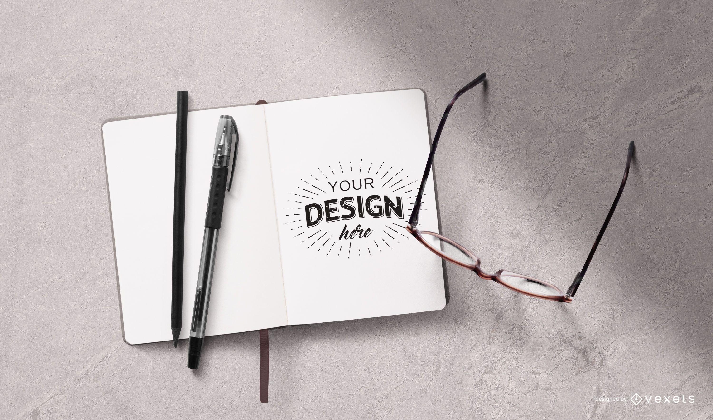 Öffnen Sie das Notebook-Briefpapier-Modell