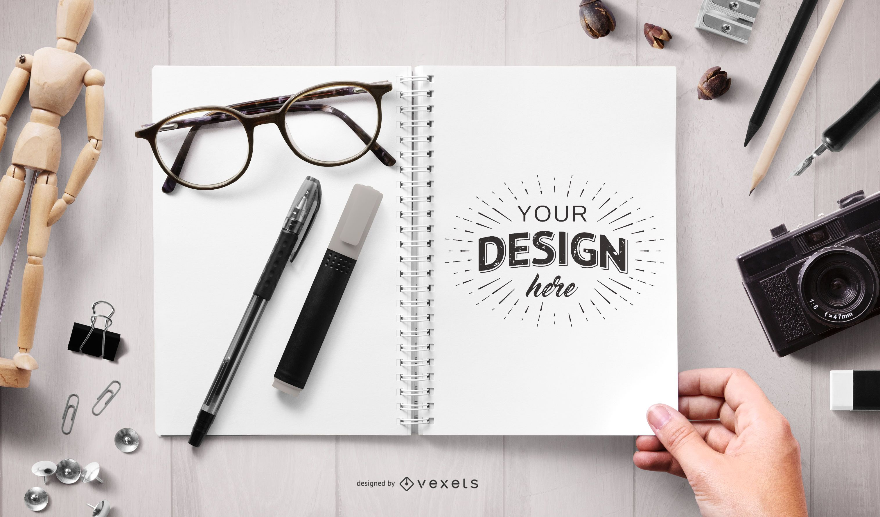 Open notebook stationery mockup composition