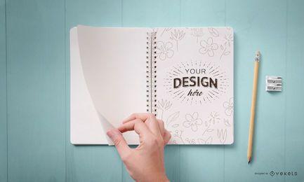 Diseño de maqueta de cuaderno abierto