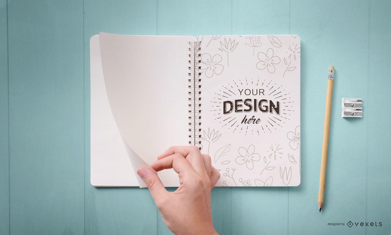 Open notebook mockup design