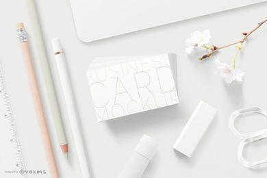Maquete mínima de cartão de visita de papelaria