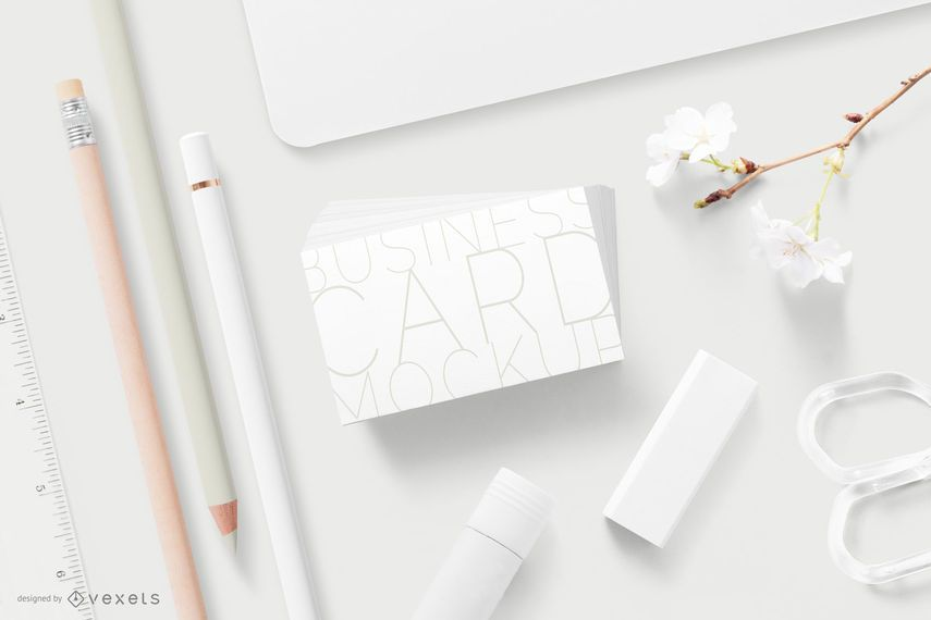 Stationery business card minimal mockup