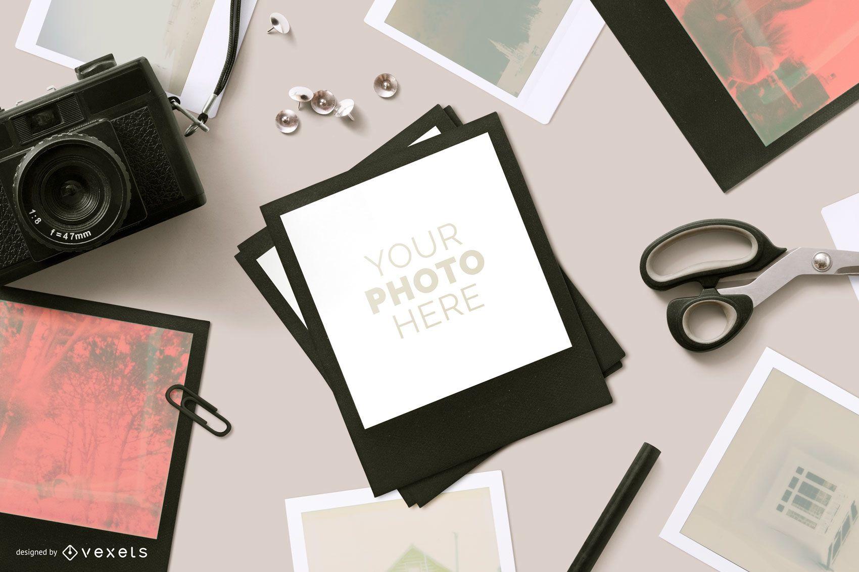 Composición de maqueta de fotografía