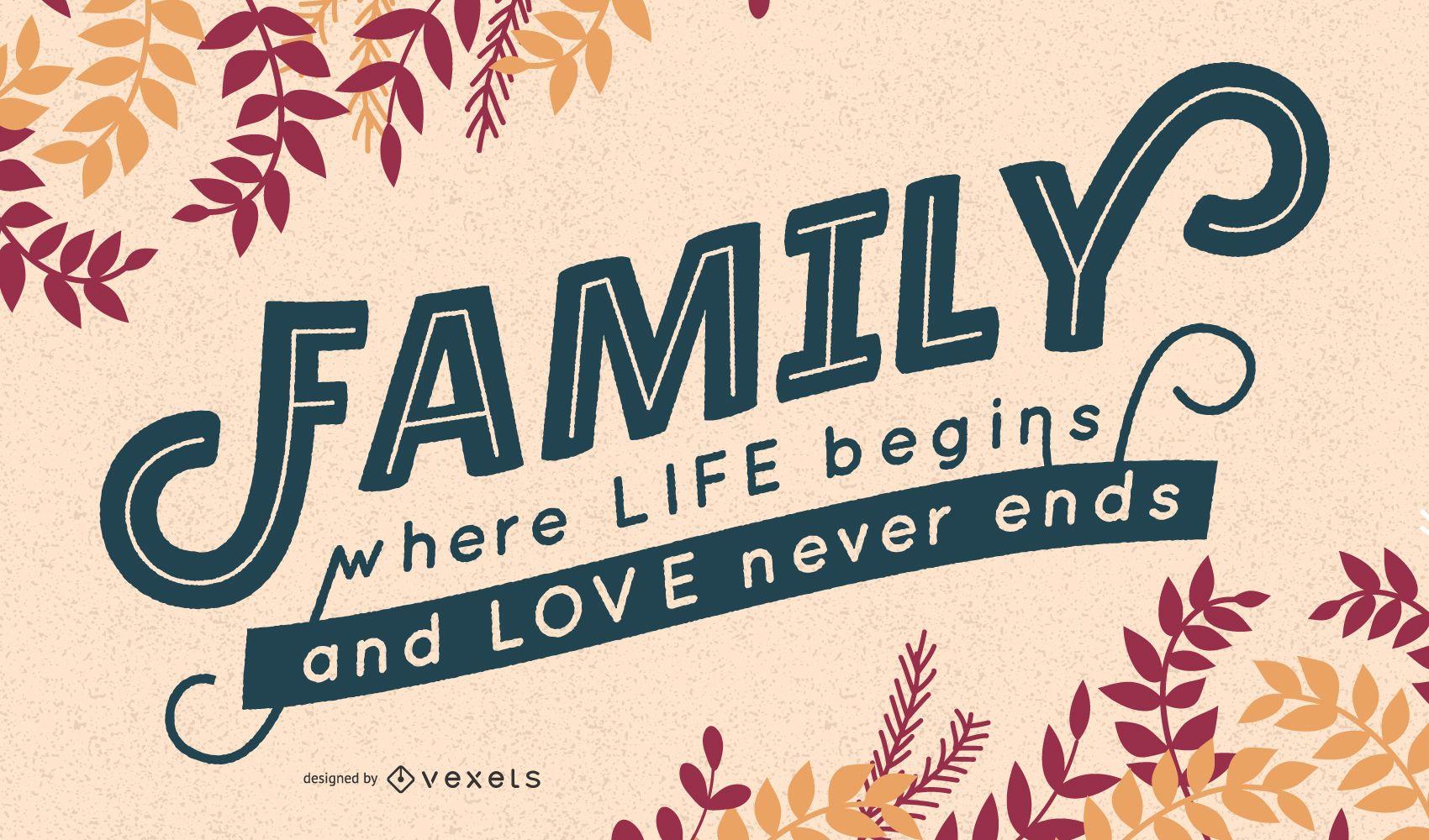 Desenho de letras da família