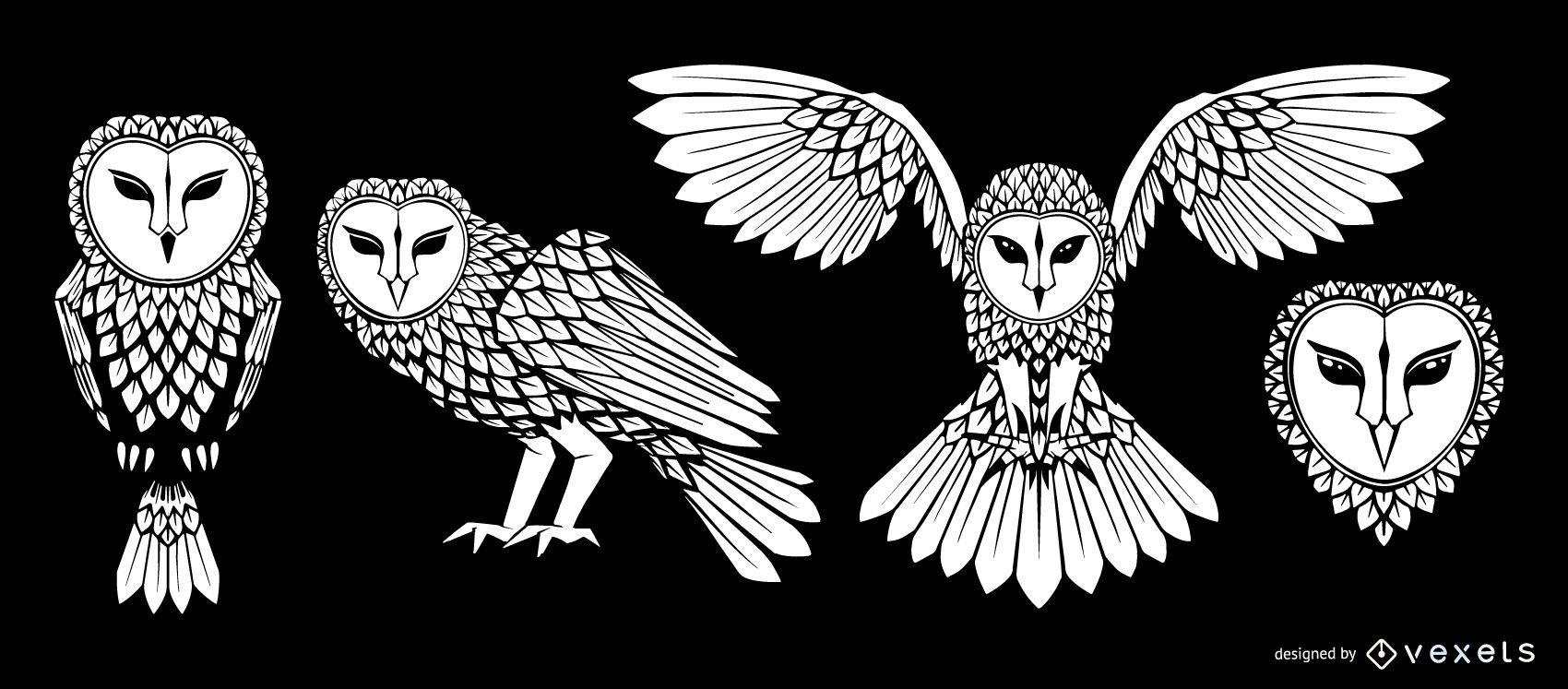 Barn owl stroke illustration set