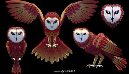Barn owl illustration set