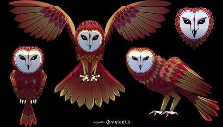 Conjunto de ilustração de coruja de celeiro