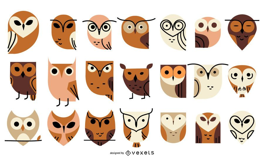 Owl flat icon collection