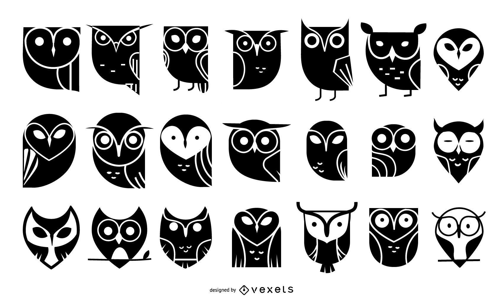 Colección de iconos de búhos
