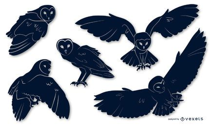 Barn Owl Animal Silhouette Pack