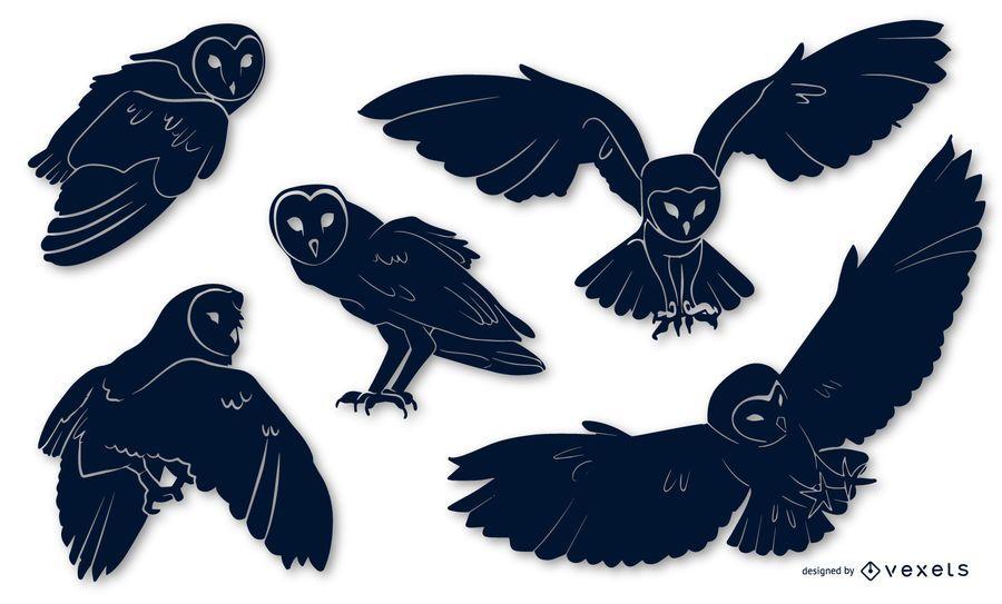 Barn Owl Animal Silhouette Pack