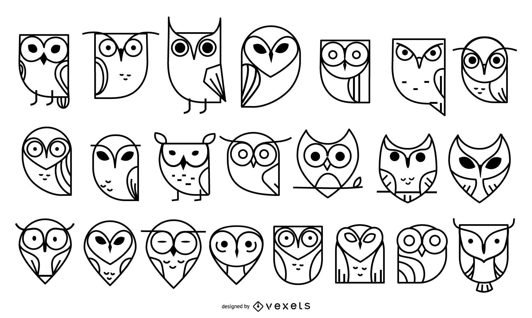 Owl stroke icon collection