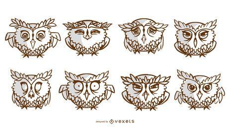 Conjunto de traços de corujas de desenho animado