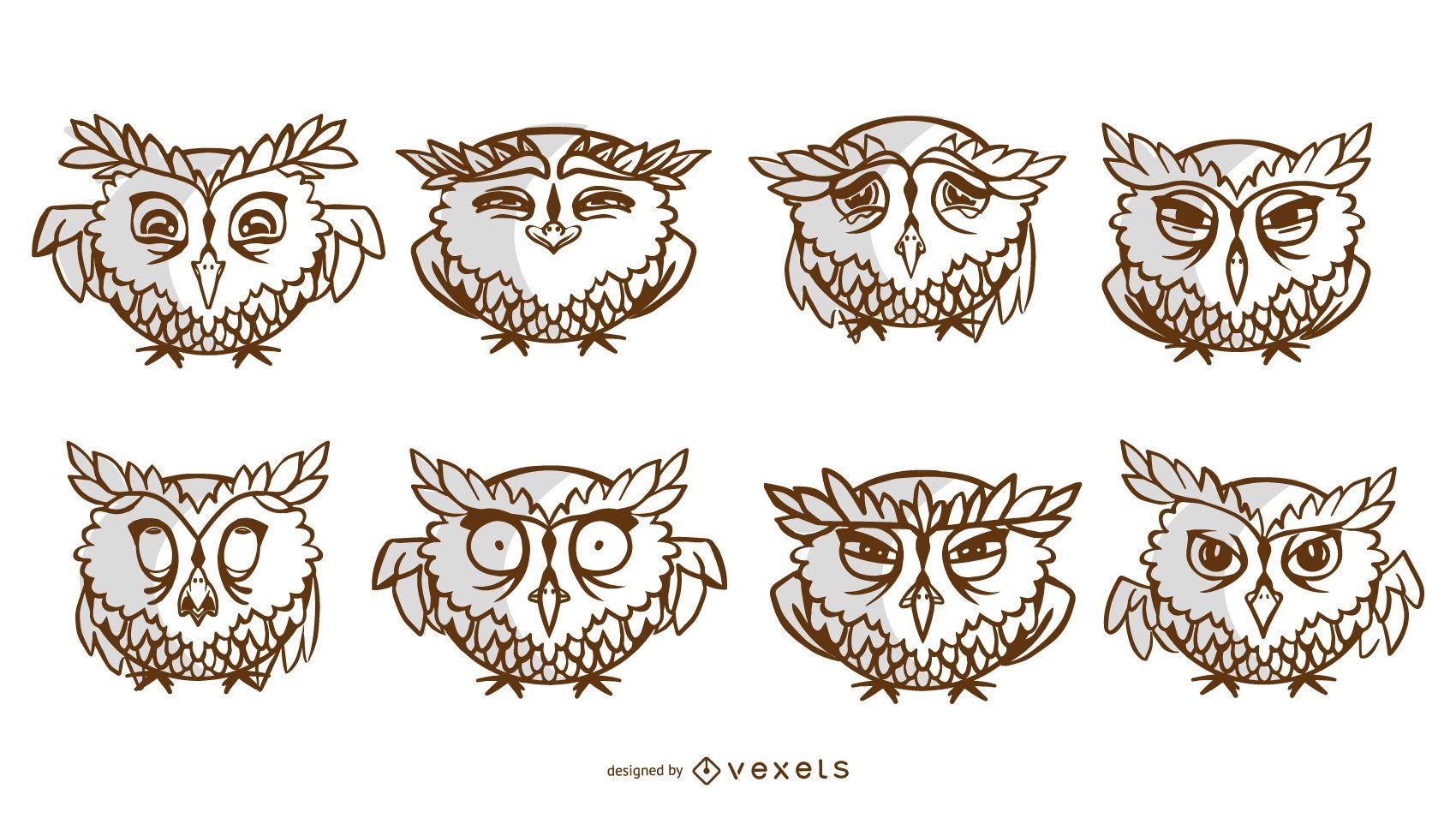 Conjunto de trazos de búhos de dibujos animados