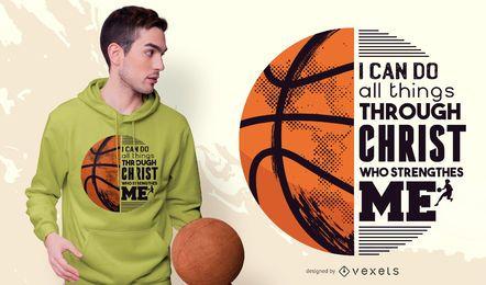 Design de t-shirt de citação de cristo de basquete