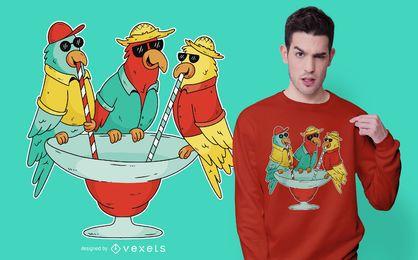 Diseño de camiseta Drinking Parrots