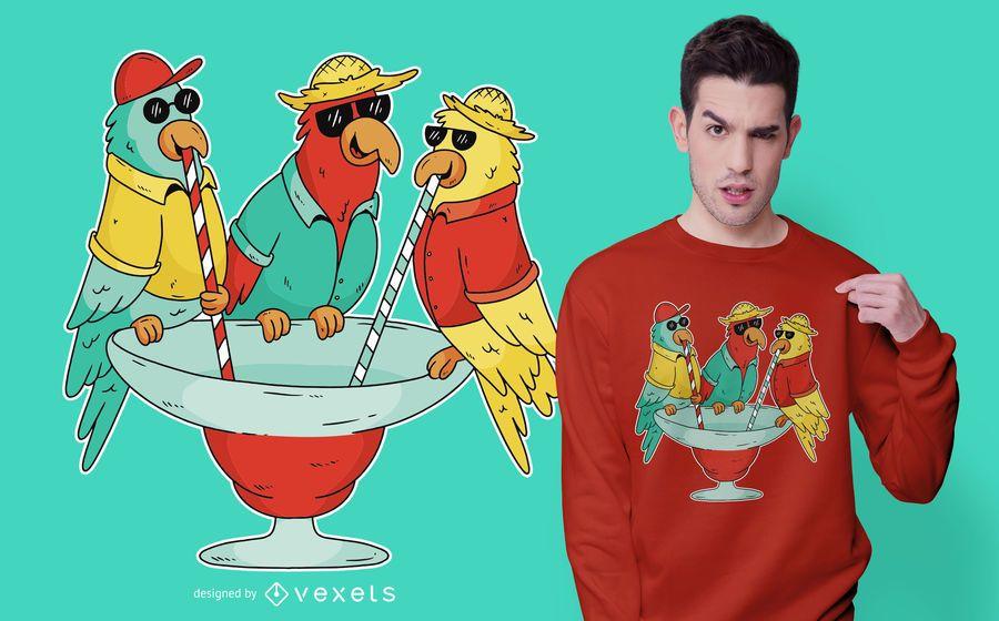 Design de t-shirt de papagaios bebendo