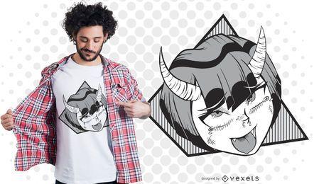 Design de t-shirt de menina demônio Anime
