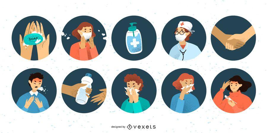 Conjunto de ícones de pessoas com coronavírus
