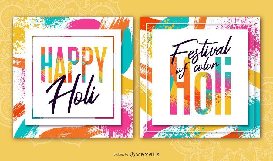 Conjunto de banner quadrado Holi Festival