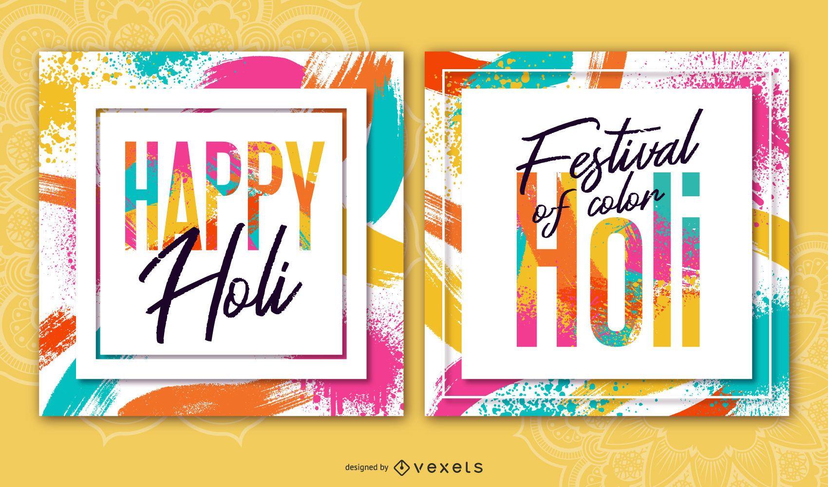 Conjunto de banners de Holi Festival Square